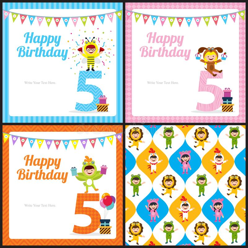 Birthday card with kids in animal costume stock vector download birthday card with kids in animal costume stock vector illustration of card clipart bookmarktalkfo Choice Image
