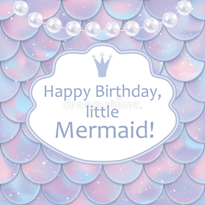 Birthday Card For Little Girl. Holographic Fish Or Mermaid Scales ...