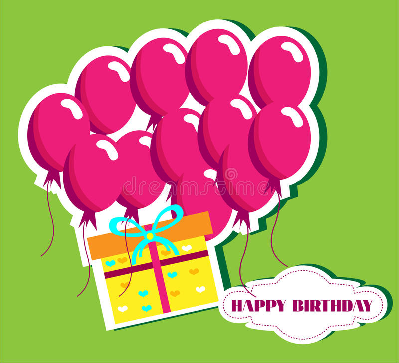 Birthday card with many pink ballons and yellow vector illustration