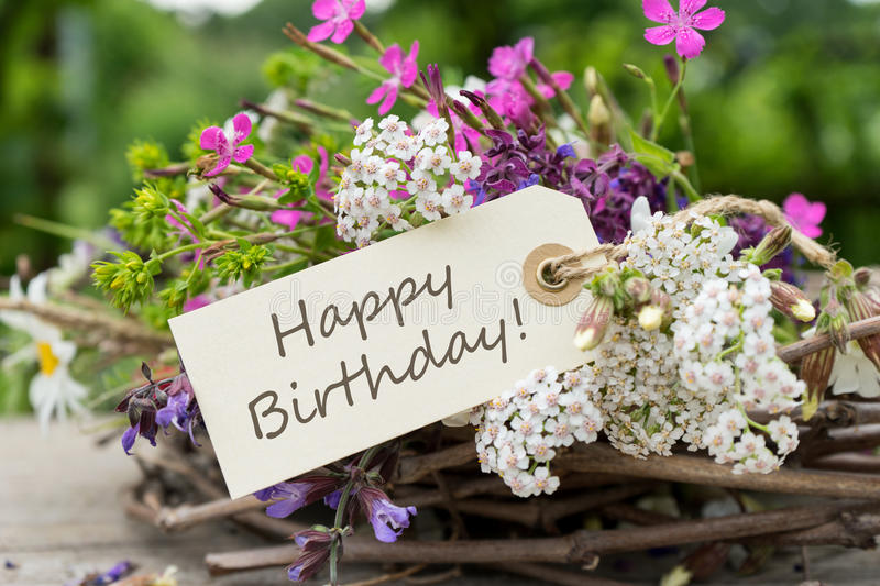 Birthday card with meadow flowers stock images