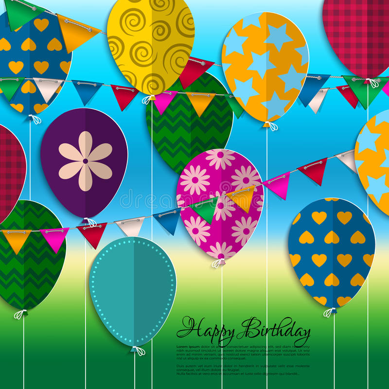 Birthday card with paper balloons, bunting flags vector illustration