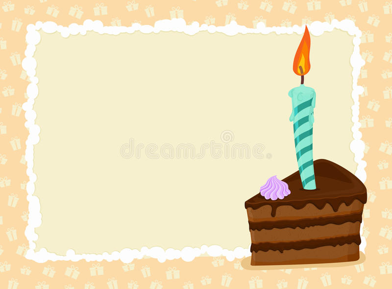 Birthday card. Piece of cake and candle. Holiday greeting template royalty free illustration