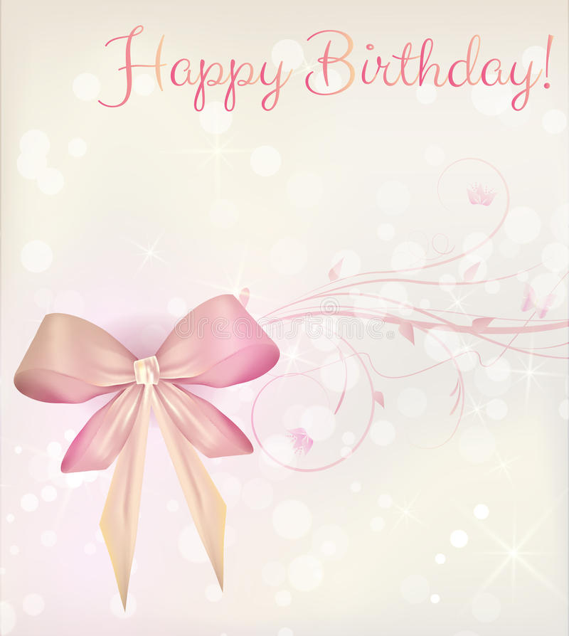 Birthday card with ribbon and floral elements royalty free illustration