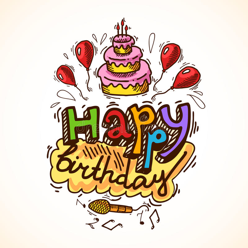 Birthday card sketch royalty free illustration