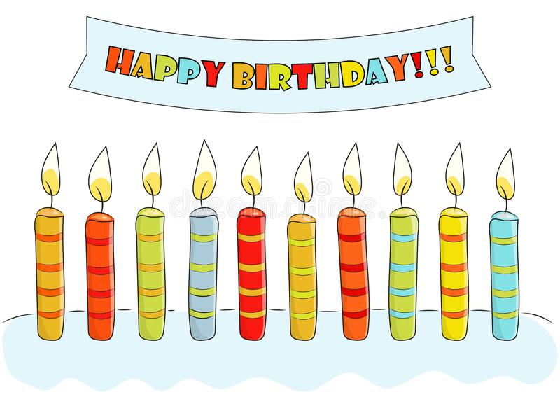 Birthday Card Sketch Postcard Birthday With Cake Candles And