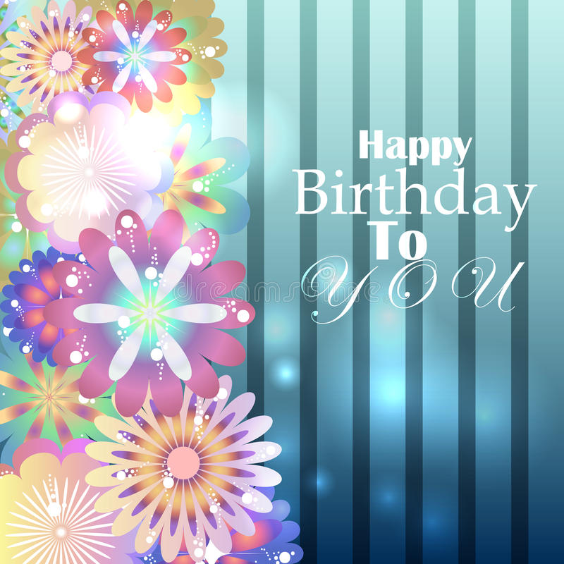 Birthday card with stripped blue background and floral elements royalty free illustration