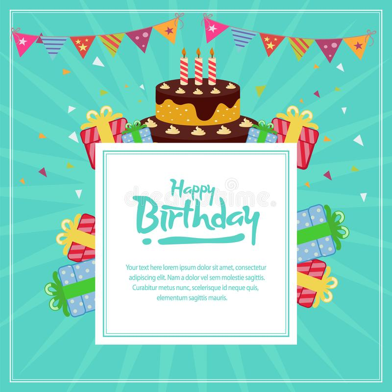 Birthday card template with cake in flat style stock illustration