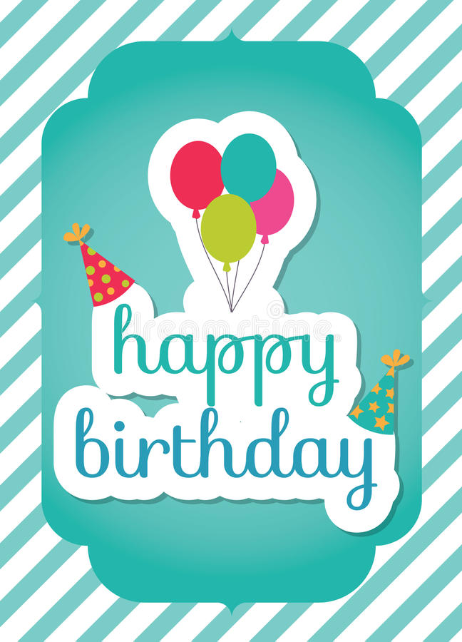 Birthday card template. Colorful and festive birthday card design royalty free illustration