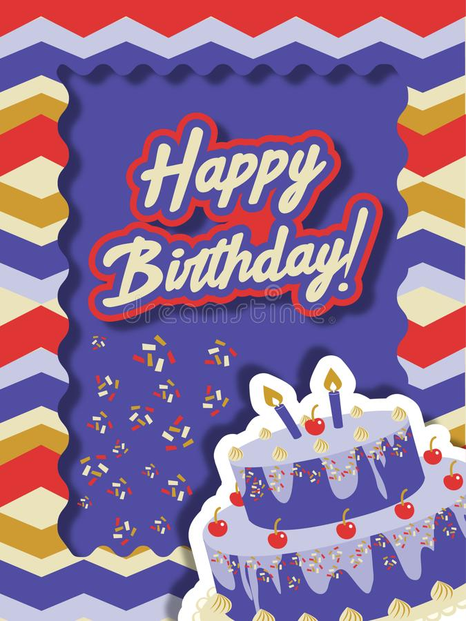 Free Birthday Card With Cake And Sparks Royalty Free Stock Images - 147243069