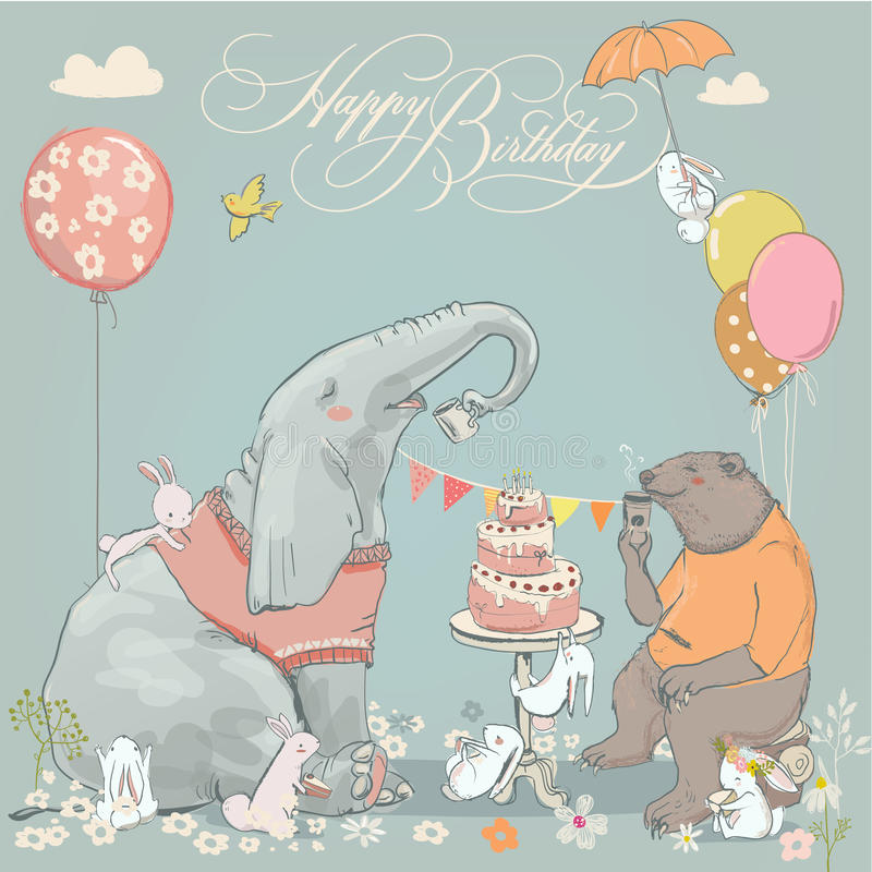Free Birthday Card With Cute Bear, Elephant And Hares Royalty Free Stock Image - 80970126