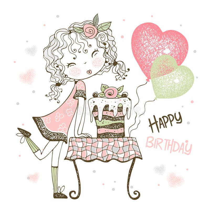 Free Birthday Card With Cute Girl With Cake And Balloons. Vector Stock Photo - 167508030