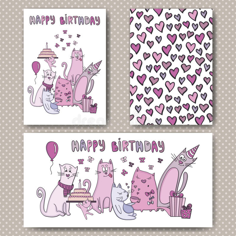 Birthday cards design with funny cats. And hearts. Vector design template for card, letter, banner, menu. Floral wedding pattern under mask vector illustration