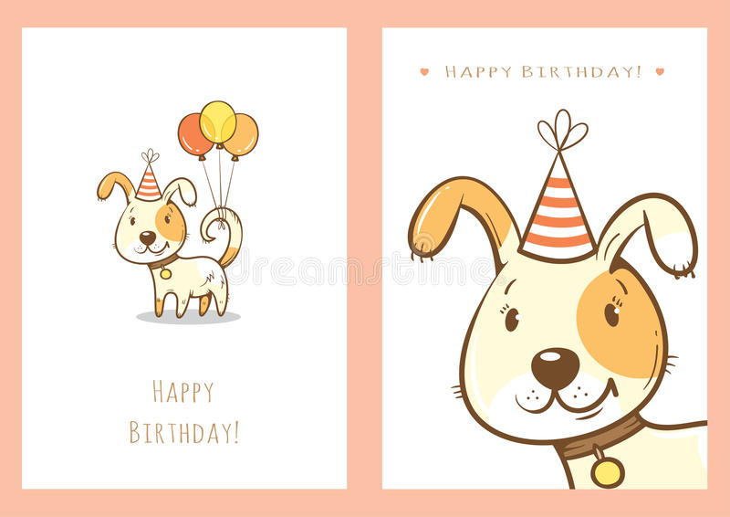Birthday cards set. stock images