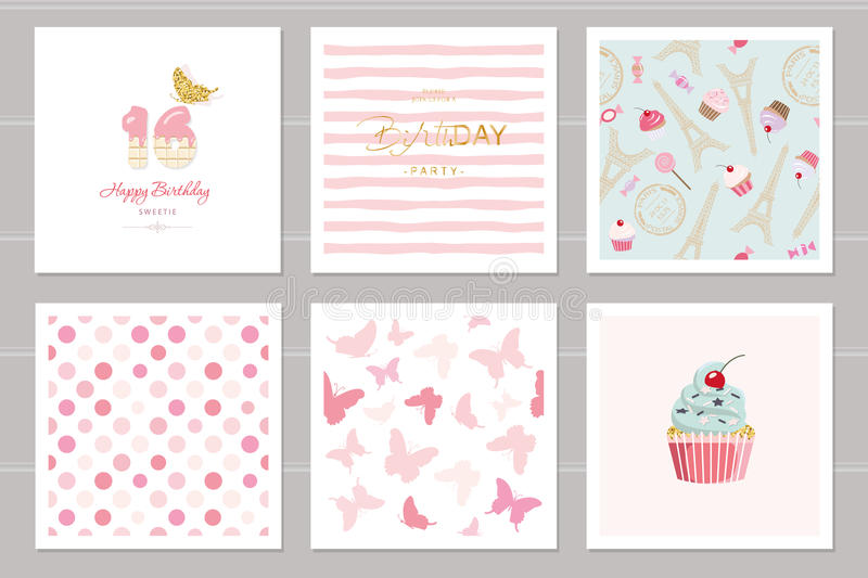 Birthday Cards Set For Teenage Girls Including Seamless Patterns In