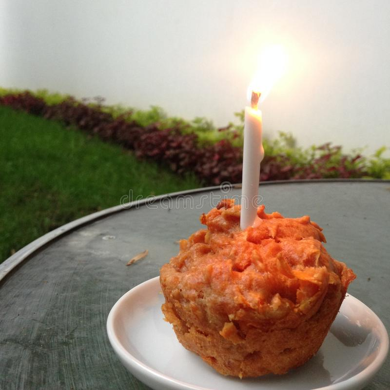 Birthday Carrot Muffin stock photography
