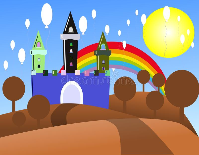 Colorful castle in a sunny day with balloons stock illustration