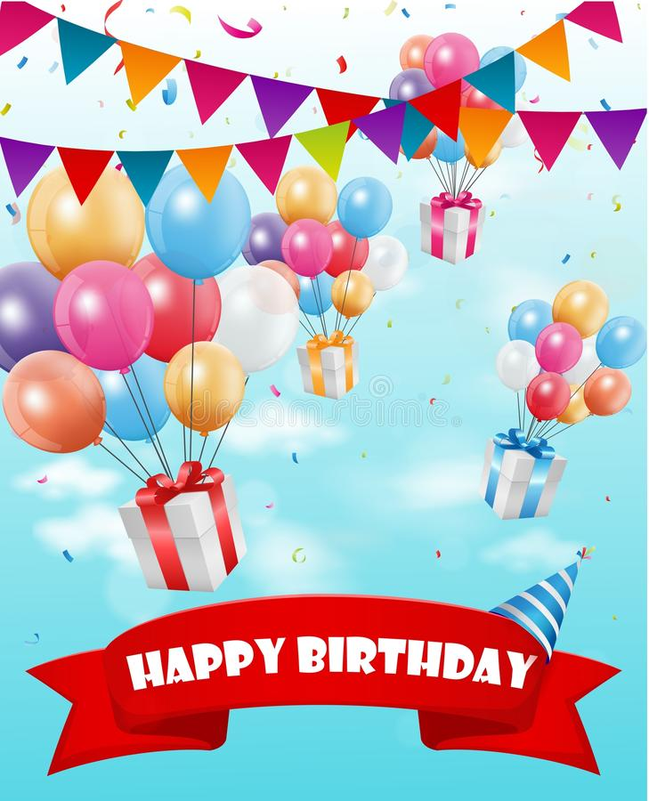 Birthday celebration background with gift box and confetti royalty free illustration