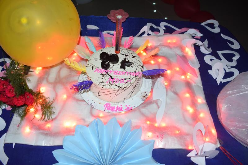 Indian home made birthday cake. Birthday celebrations stock images