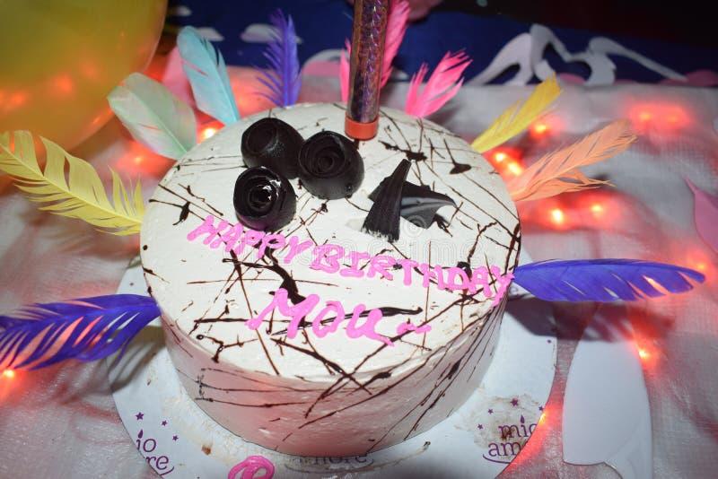 Indian home made birthday cake. Birthday celebrations royalty free stock image