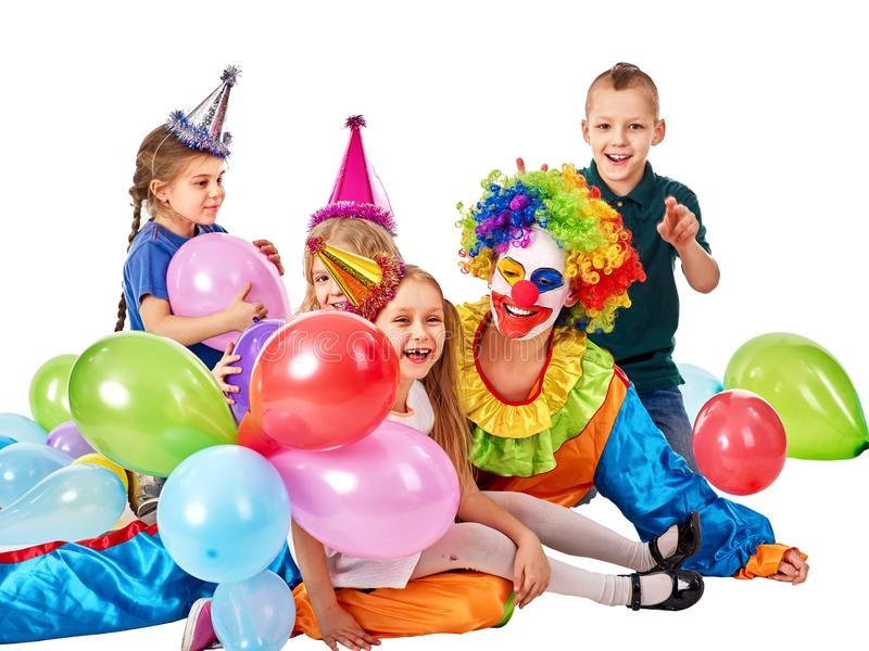 Birthday child clown playing with children. Kid holiday cakes celebratory. stock photos