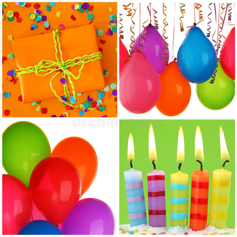 Birthday collage. With colorful decoration royalty free stock photography
