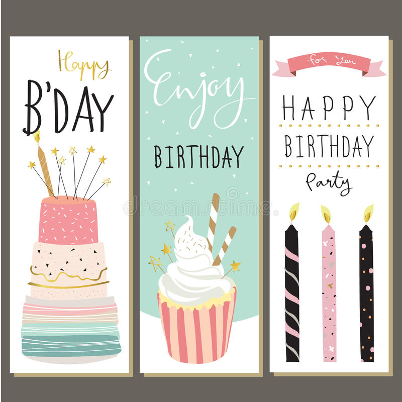 Birthday collection for greeting card with cake,candle and cupcake royalty free illustration