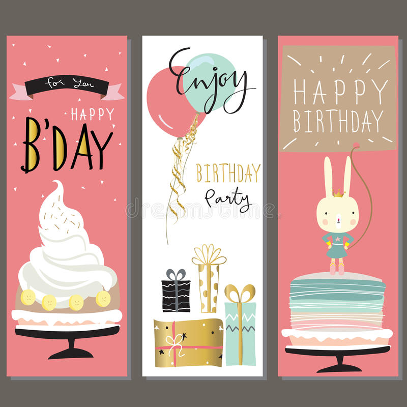 Birthday collection for greeting card with cake,gift,balloon and. Rabbit vector illustration