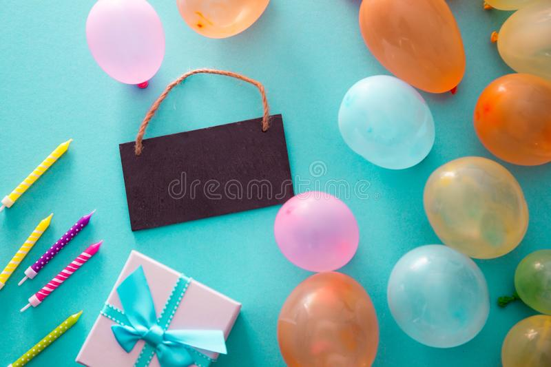 Birthday concept with baloons royalty free stock photography