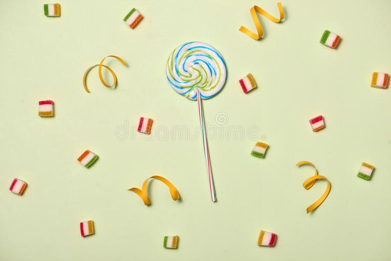 Birthday Concept - Holiday Food Top View Various Sweet Candies o stock photography