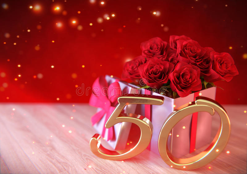 Birthday concept with red roses in gift on wooden desk. fiftieth birthday. 50th. 3D render. Birthday concept with red roses in gift on wooden desk. 3D render vector illustration