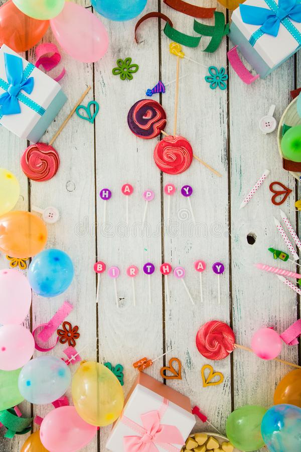 Birthday concept on wood. Birthday background. Birthday celebration with copy space. Birthday greeting card stock images