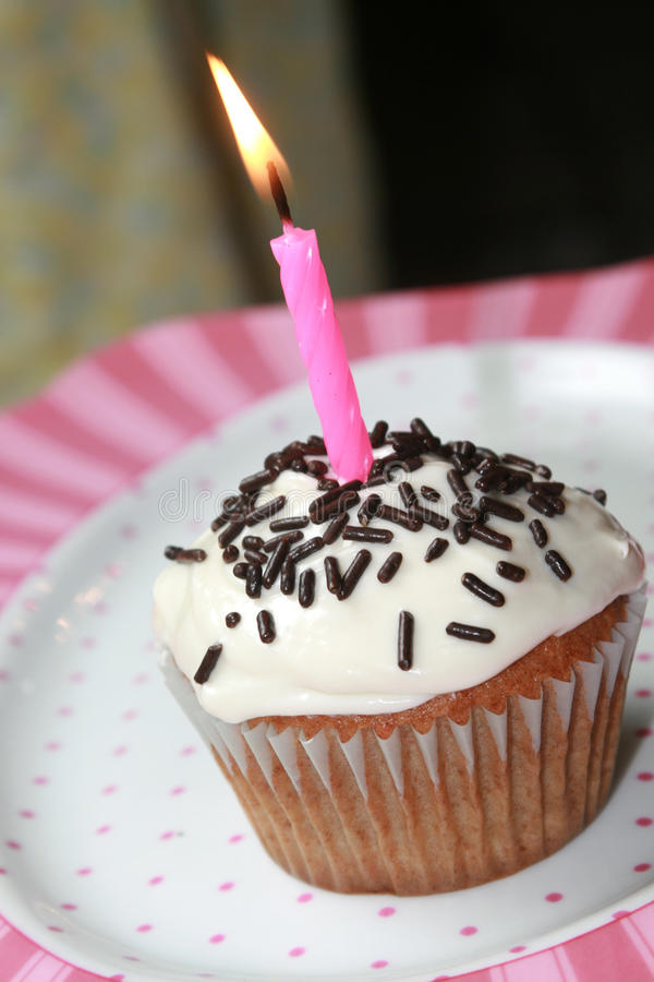 Birthday Cup Cake. A birthday cup cake with a burning candle. Birthday theme royalty free stock photo