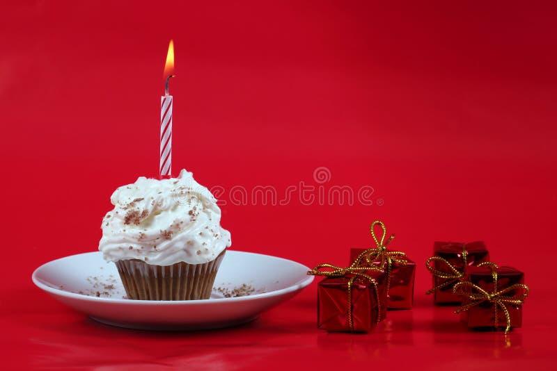 Birthday cupcake royalty free stock photo