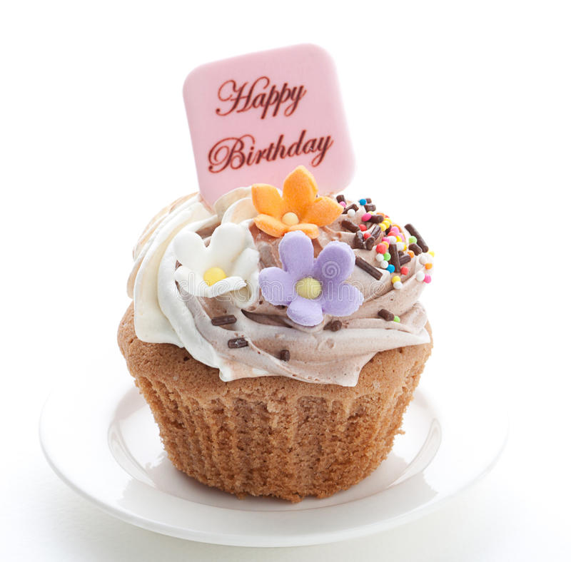 Birthday cupcake. Enjoy your birthday party with colorful birthday's cupcake stock photo