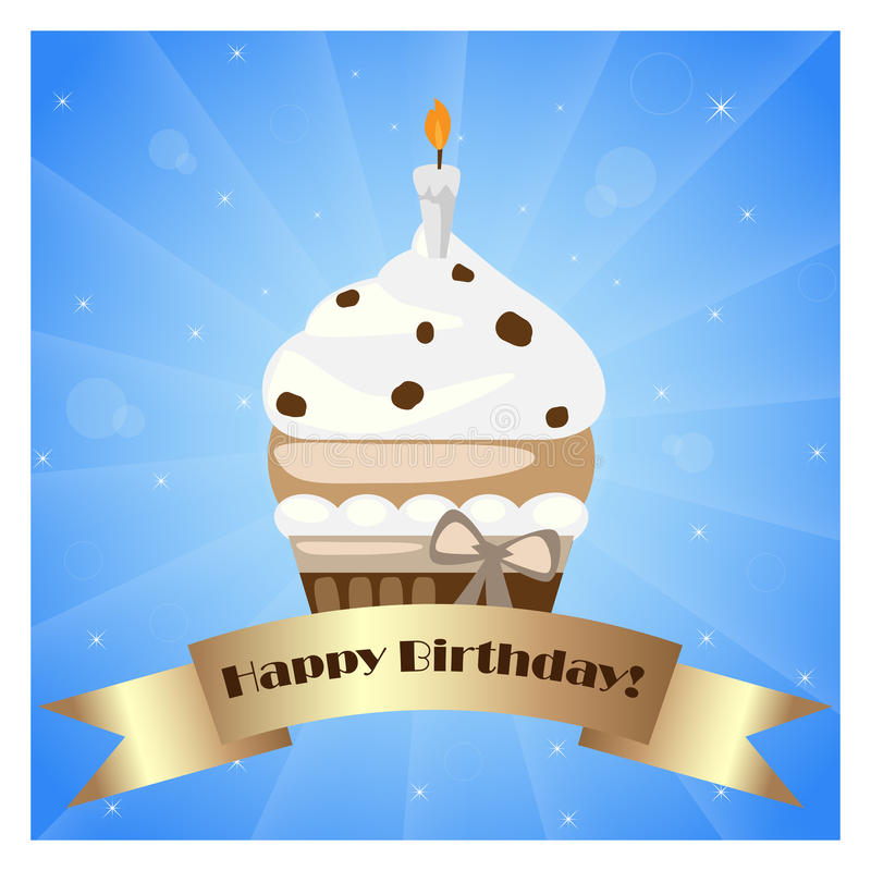 Birthday cupcake with banner. Illustration of a birthday cupcake with banner on blue background.EPS file available vector illustration