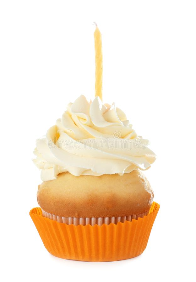 Birthday cupcake with candle. On white background stock photos