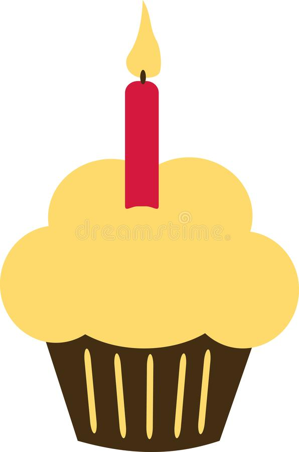 Birthday Cupcake with candle. Vector stock illustration