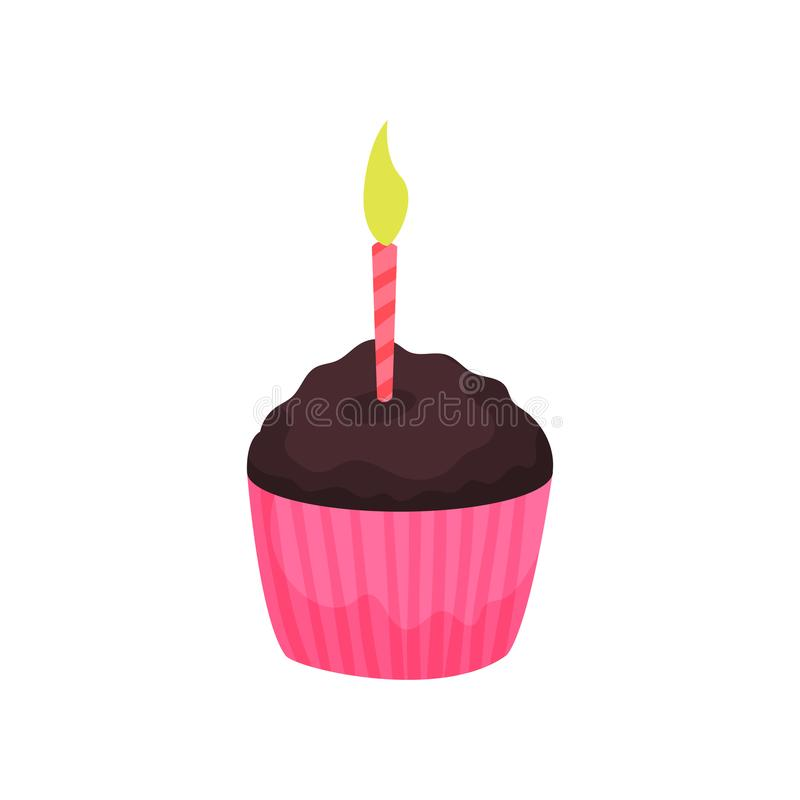 Birthday cupcake or muffin with burning candle. Tasty chocolate dessert. Cartoon icon in flat style. Colorful vector royalty free illustration