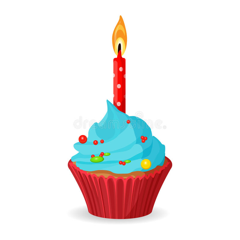 Birthday cupcake with one burning candle, blue cream with caramel stock illustration