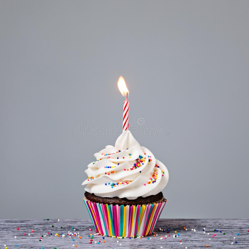 Birthday Cupcake with red candle royalty free stock images