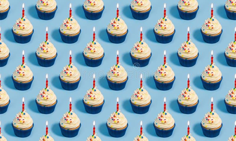 Birthday cupcake seamless pattern royalty free stock images