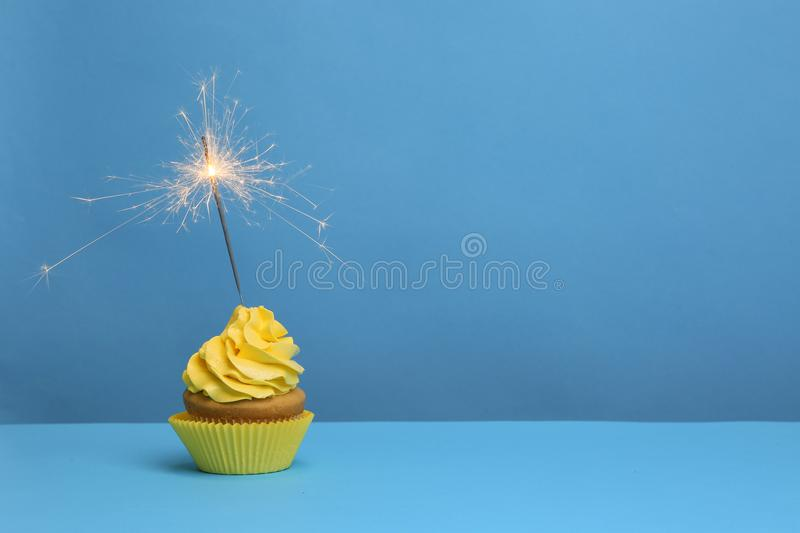 Birthday cupcake with sparkler royalty free stock photography