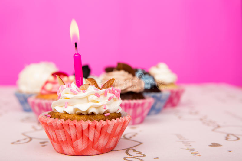 Download Birthday cupcakes. stock photo. Image of frosted, buttercream - 25666574