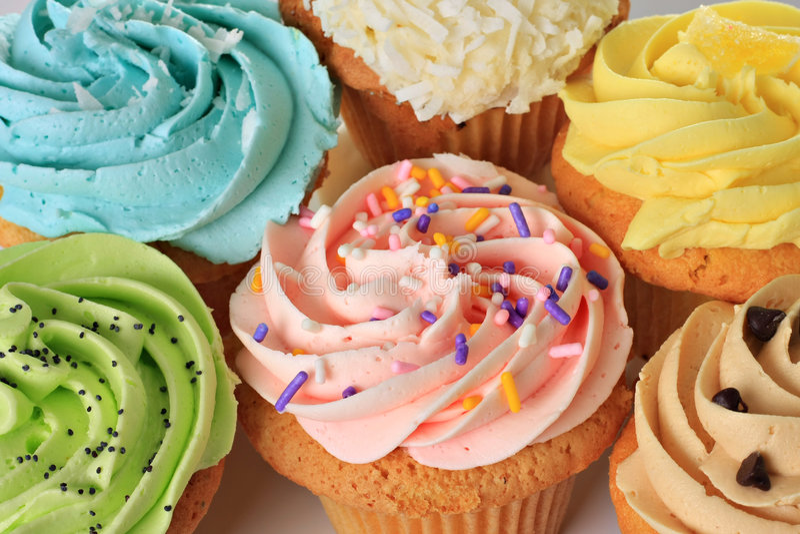 Birthday cupcakes. Delicious Birthday cupcakes with sprinkles royalty free stock image