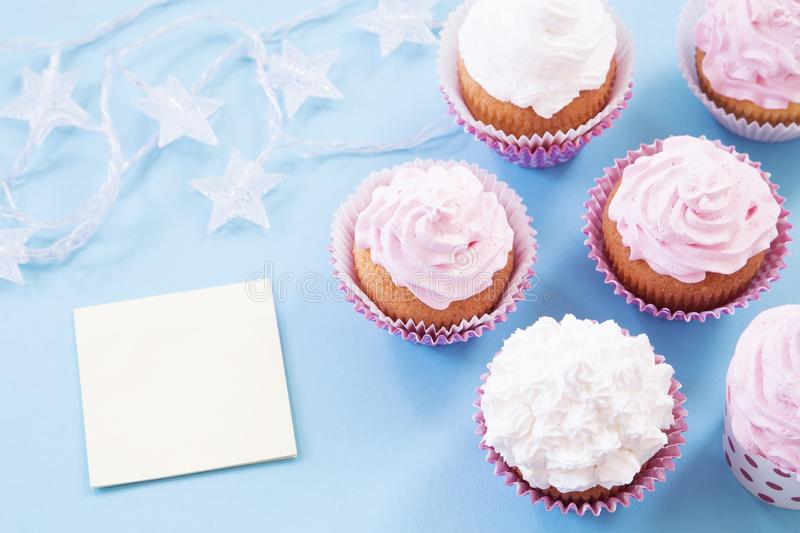Birthday cupcakes. With the blank message royalty free stock photos