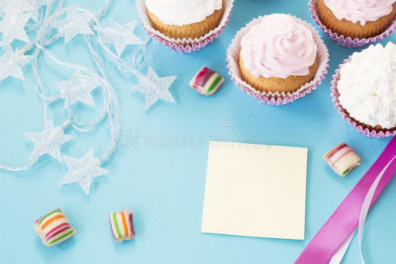 Birthday cupcakes. With the blank message stock photos