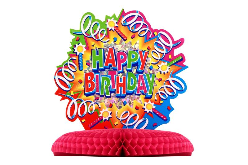 Birthday decoration. Close up of colourful cardboard birthday decoration on red stand isolated on white background stock images