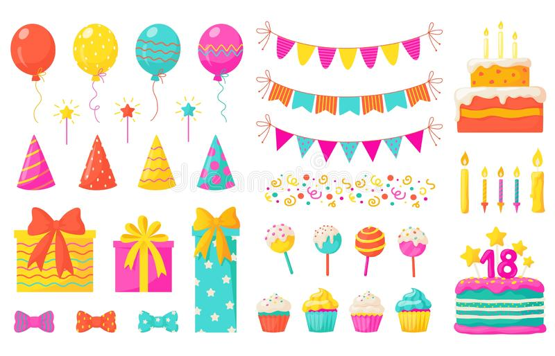 Birthday decoration. Kids party design elements, confetti balloons cakes colorful paper ribbons candles. Vector birthday stock illustration