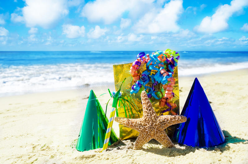 Birthday Decorations On The Beach Royalty Free Stock Photo Image