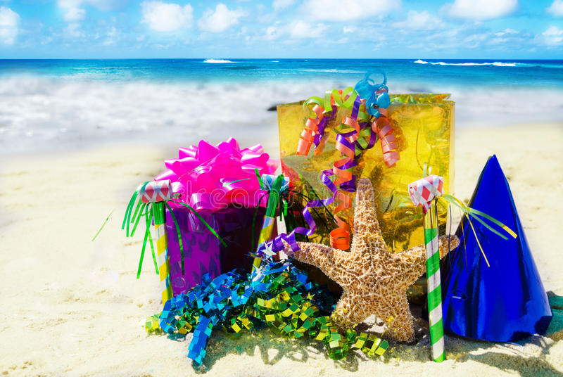 Birthday Decorations On The Beach Stock Image Image 34118881